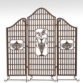 Three Panel Iron Urn Screen