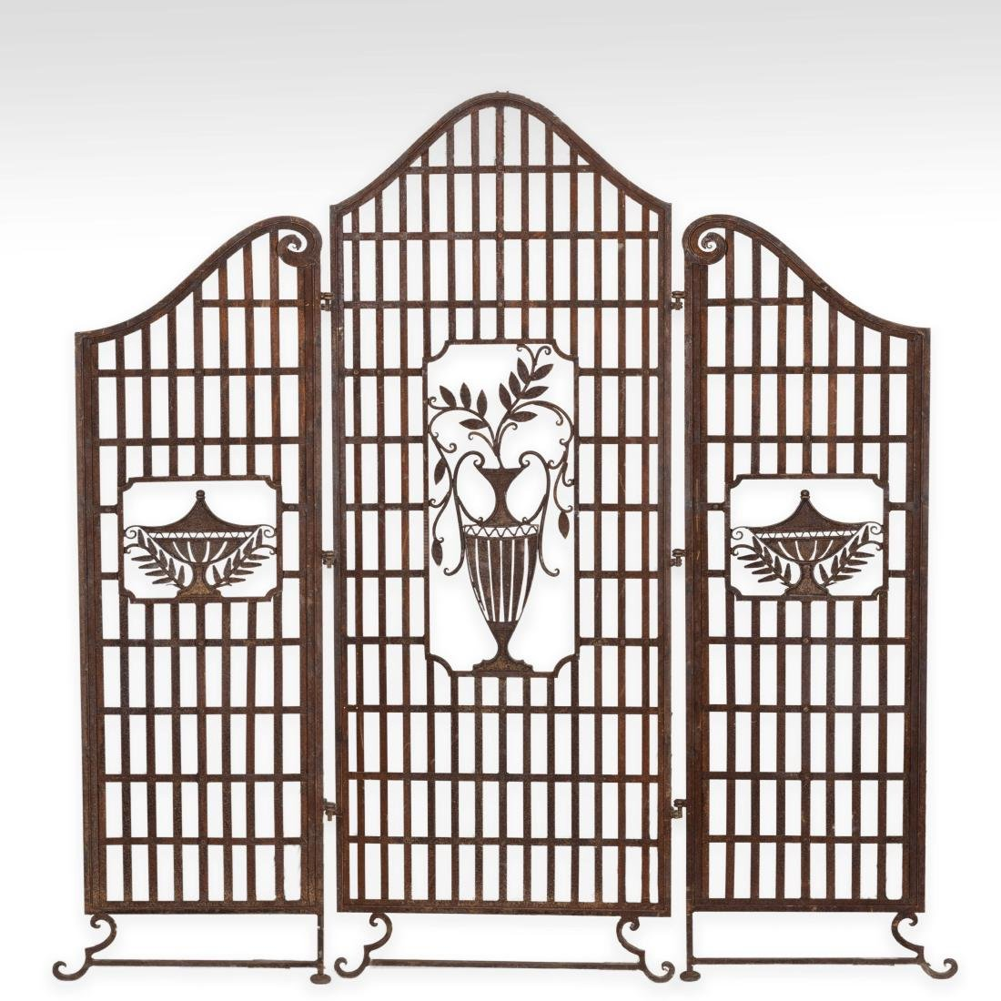 Three Panel Iron Urn Screen