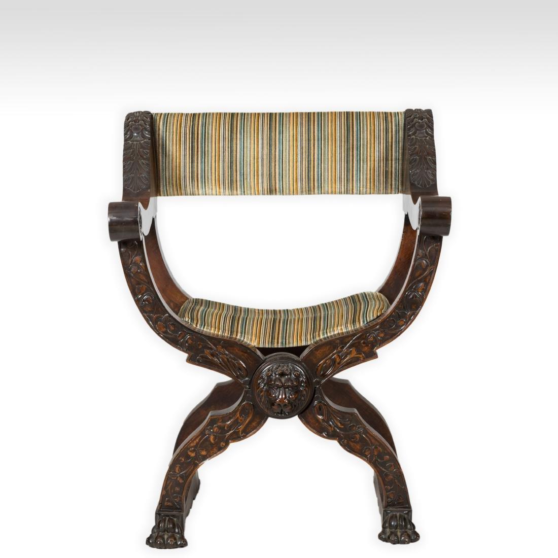 Figural Carved Savonarola Chair
