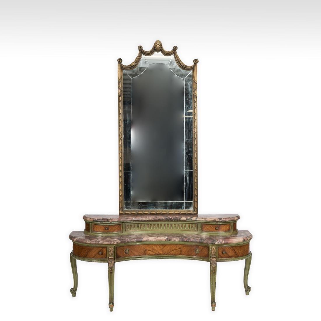 Painted Satinwood Vanity and Mirror