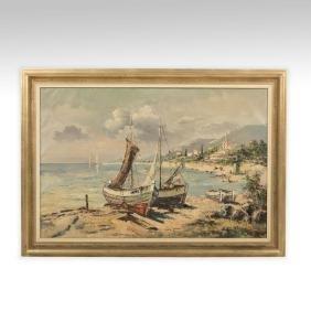 Italian Harbor Scene - Oil on Canvas - Signed