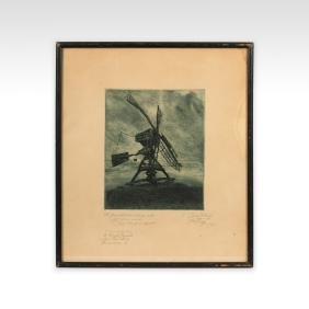 Aquatint Etching of Windmill - Signed and Dated