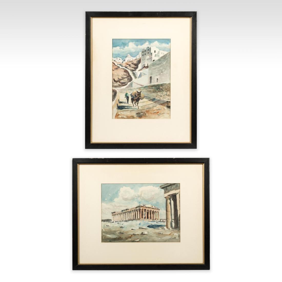 Two Greco-Roman Watercolor Scenes - Signed