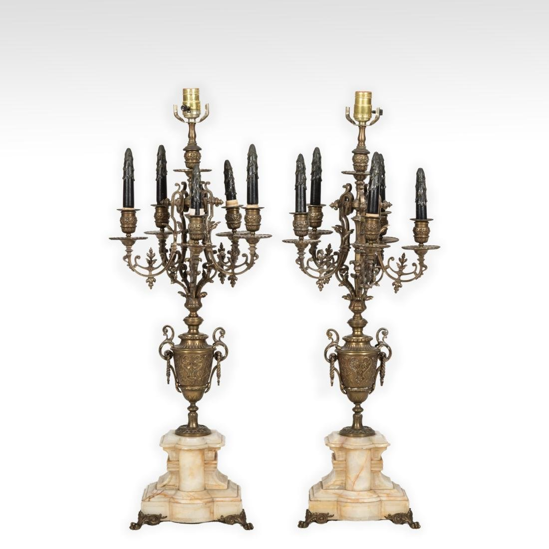 Pair Bronze Candelabras on Marble Base
