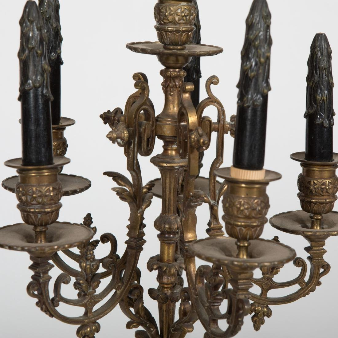 Pair Bronze Candelabras on Marble Base - 3