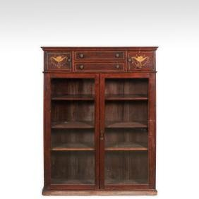 Inlaid Mahogany Two Door Bookcase