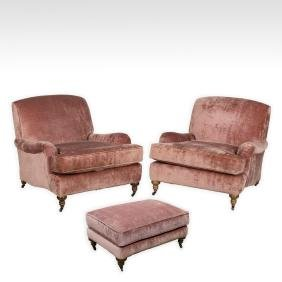 Pair of English Style Upholstered Chairs & Ottoman
