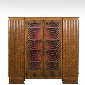 Burled English Art Deco Armoire - Epstein Brothers