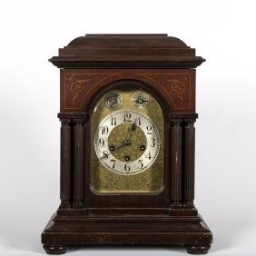 Antique Inlaid Mahogany Mantle Clock