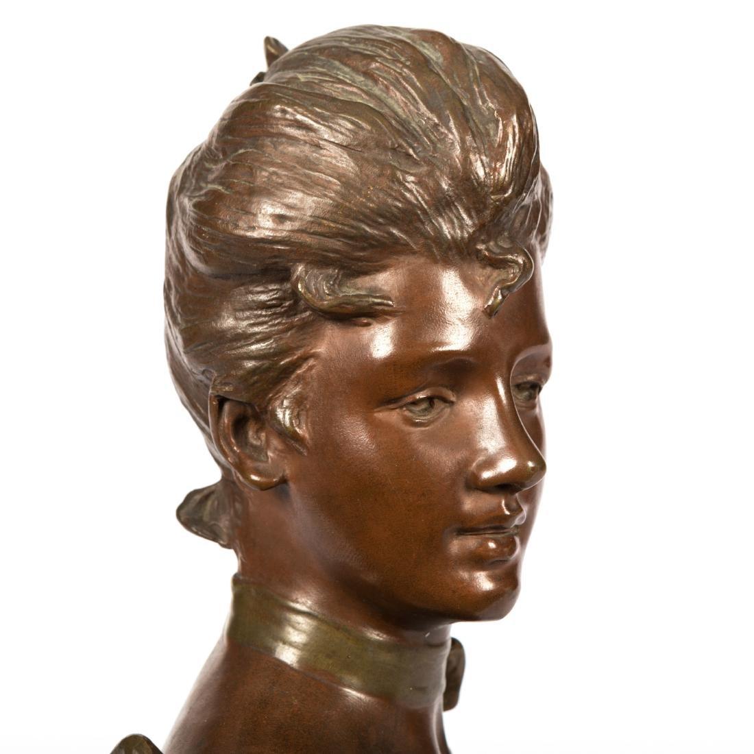 Van Der Straeten Bronze Bust of Woman - Signed - 4