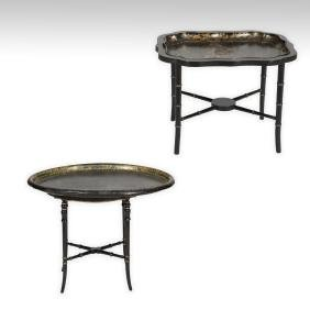 Two English Lacquered Tray Tables