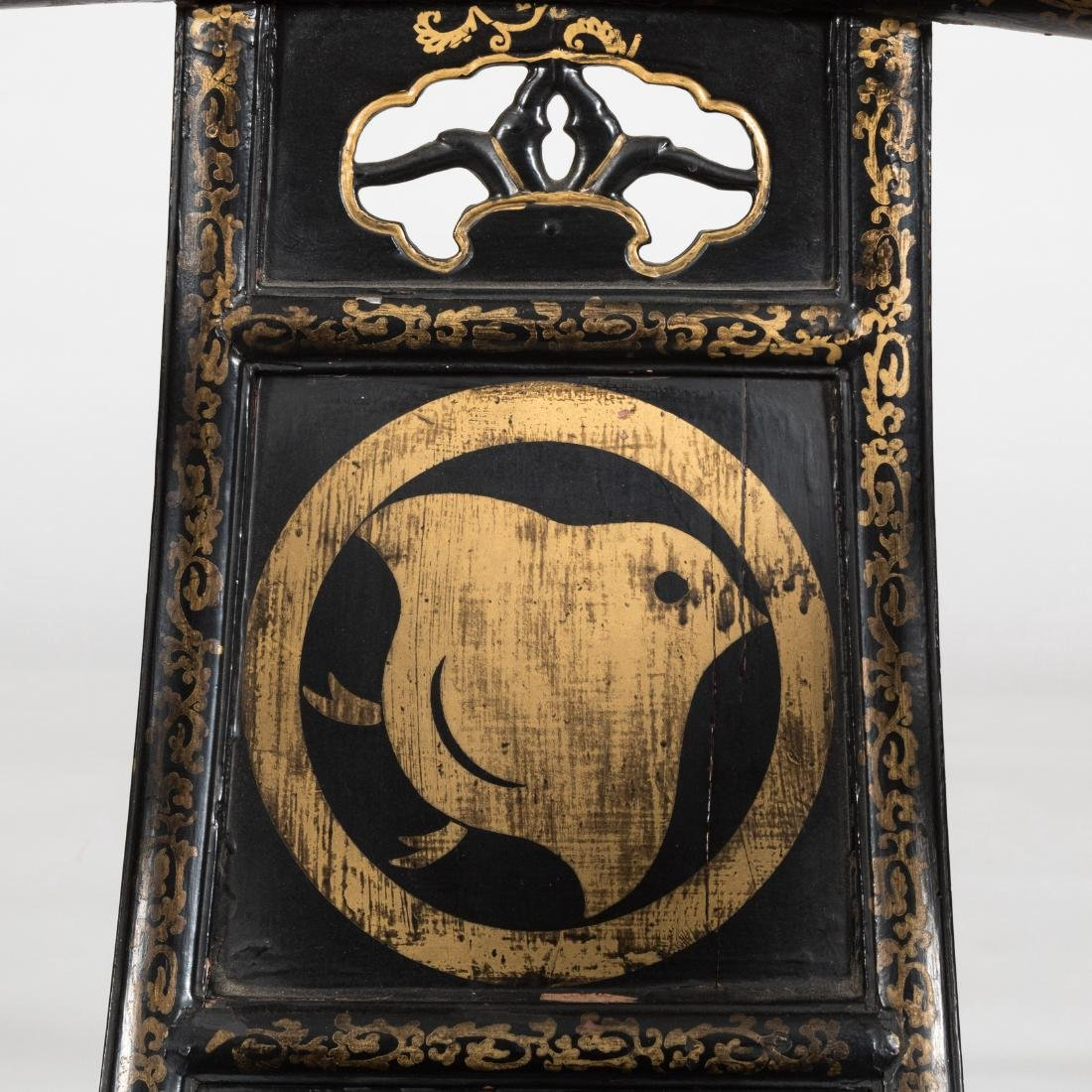 Oriental Decorated Lacquered Stool - 6