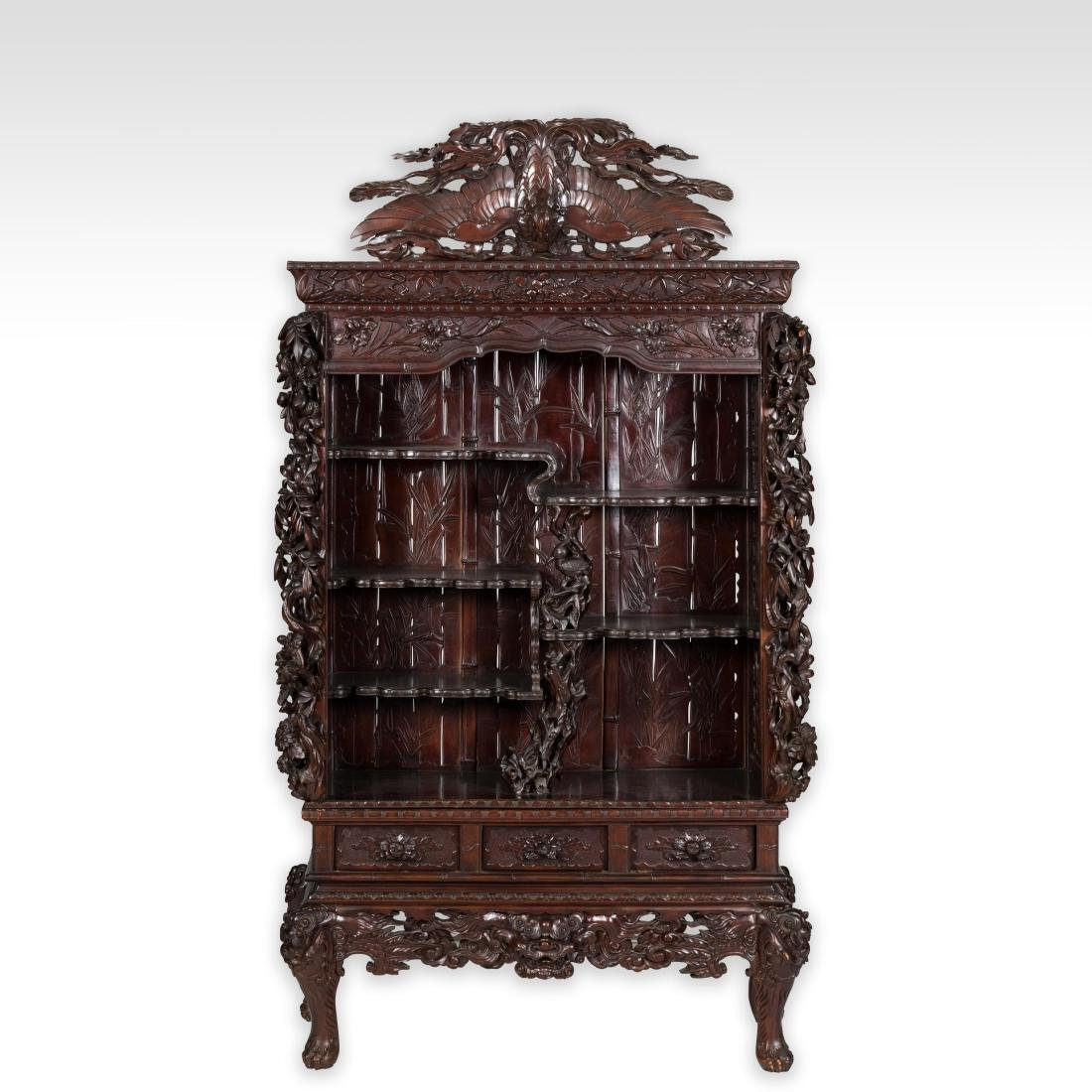 Heavily Carved Japanese Curio Cabinet