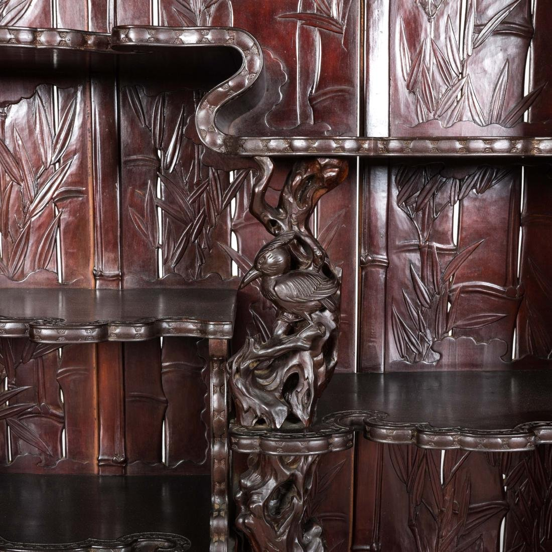 Heavily Carved Japanese Curio Cabinet - 5