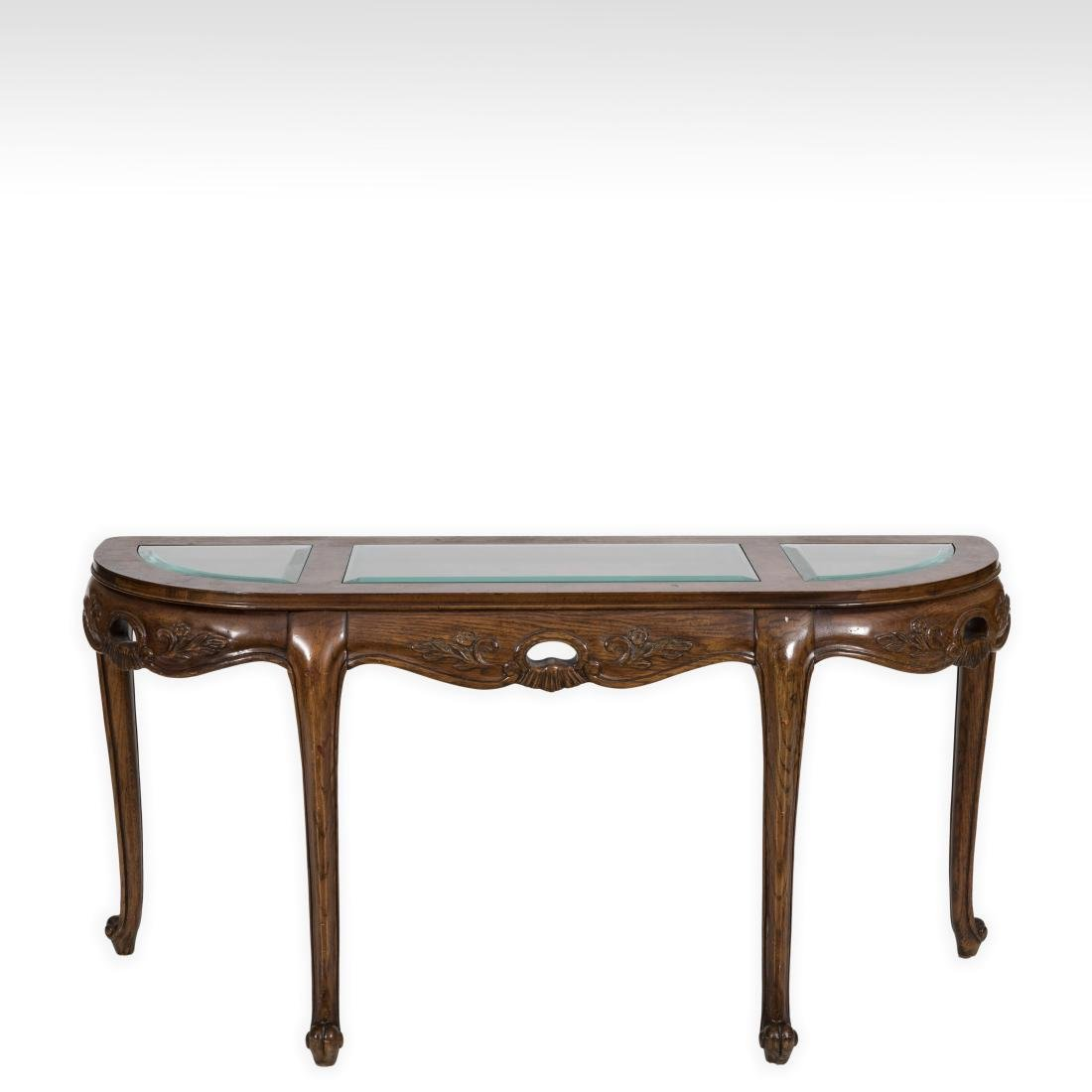 French Style Glass Top Console Table