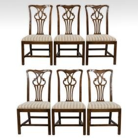 Set Six Drexel Chippendale Style Chairs