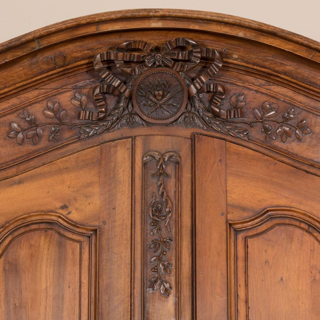 French Provincial Carved Walnut Armoire - 3