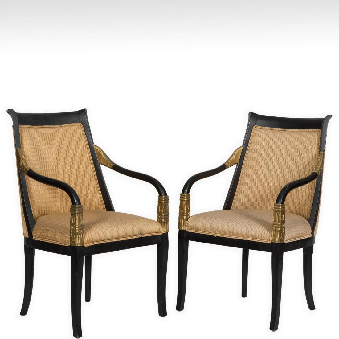 Pair Empire Style Arm Chairs