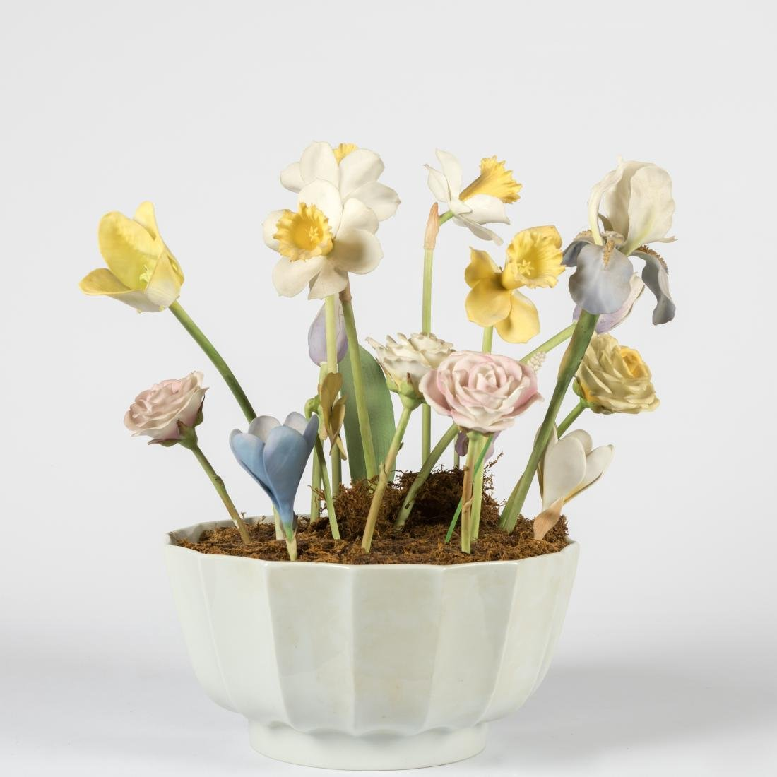 Group of Porcelain Flowers in Limoges Bowl