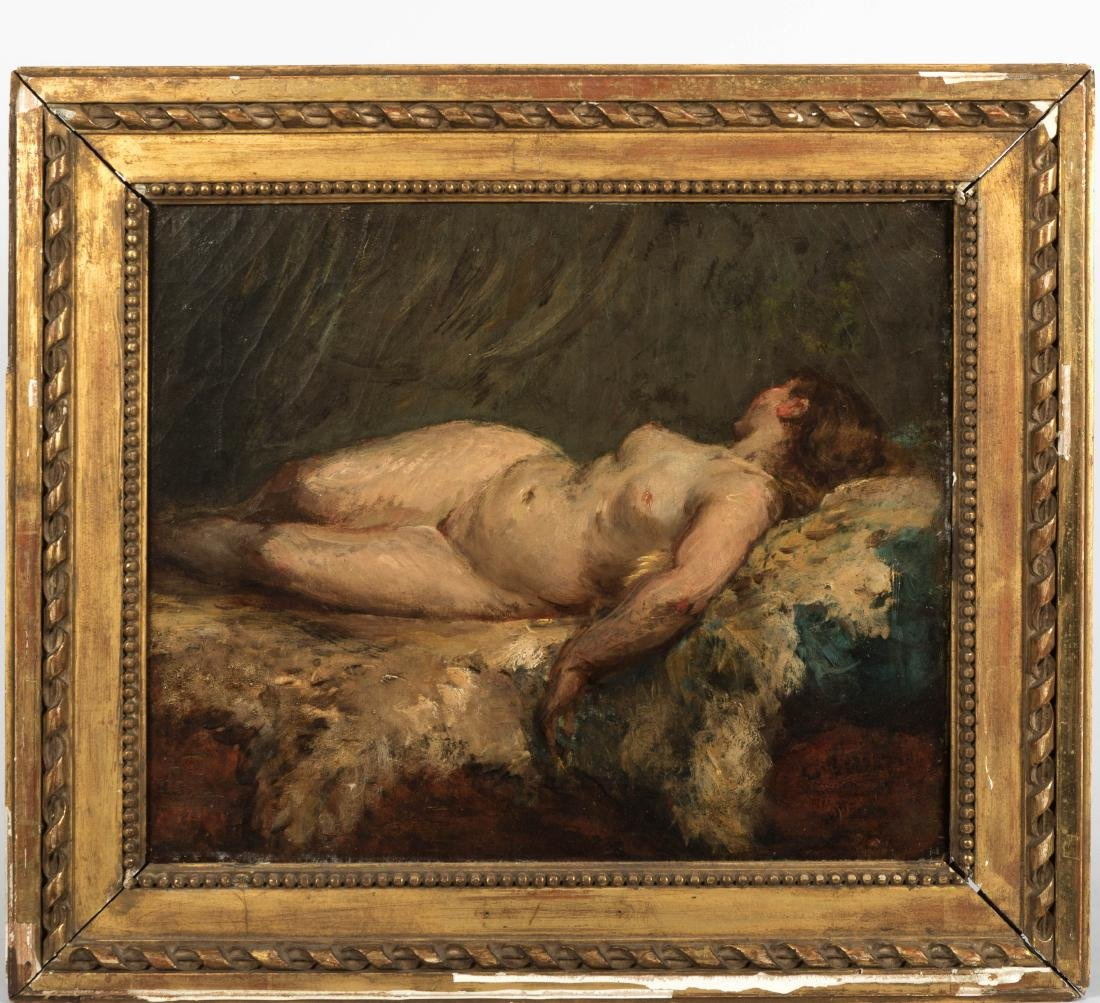 French Nude - Oil on Canvas - Illegibly Signed