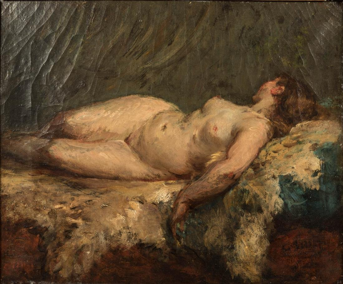 French Nude - Oil on Canvas - Illegibly Signed - 2