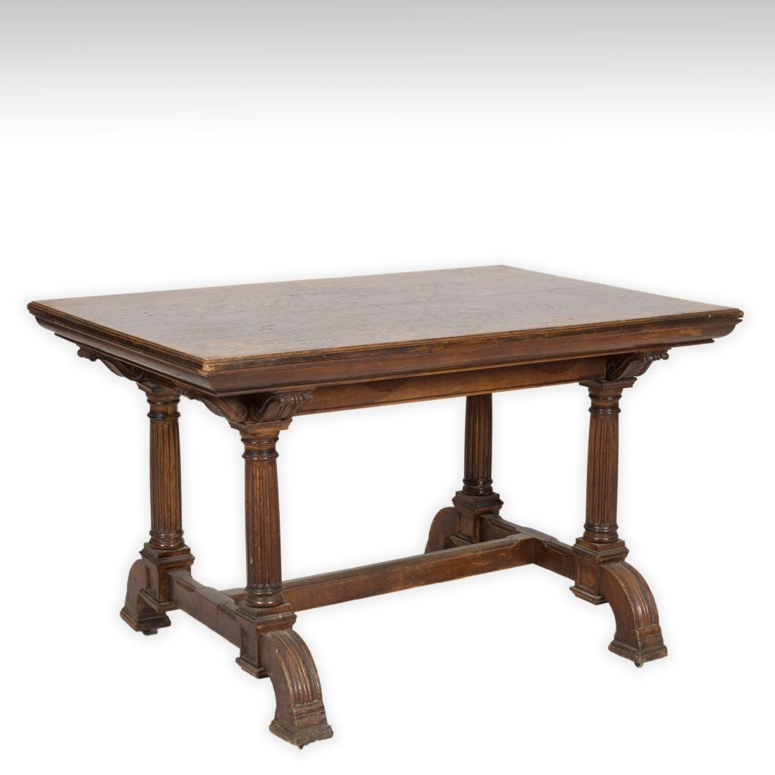Oak Library Table with Footed Legs