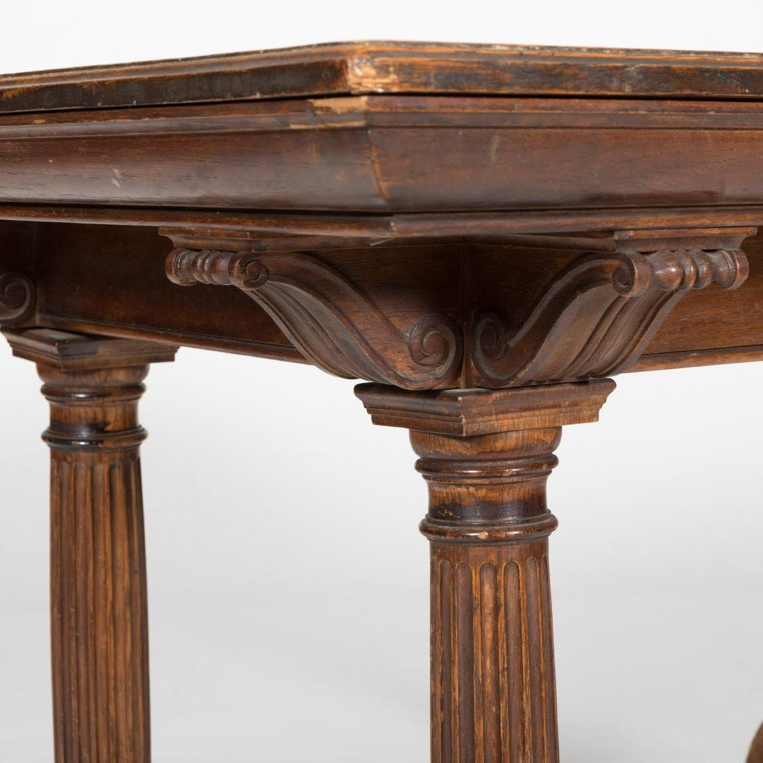 Oak Library Table with Footed Legs - 2