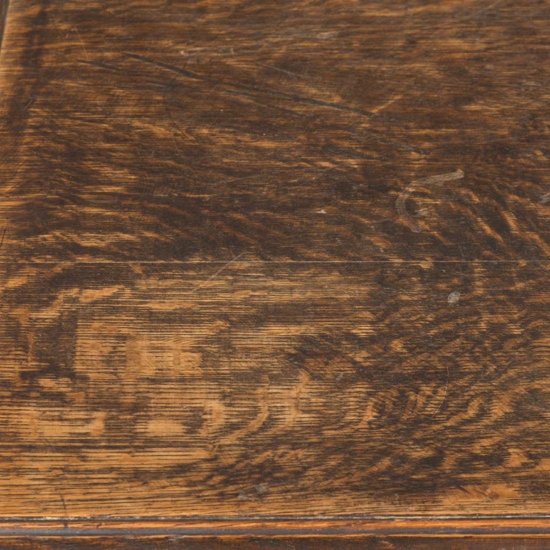 Oak Library Table with Footed Legs - 5