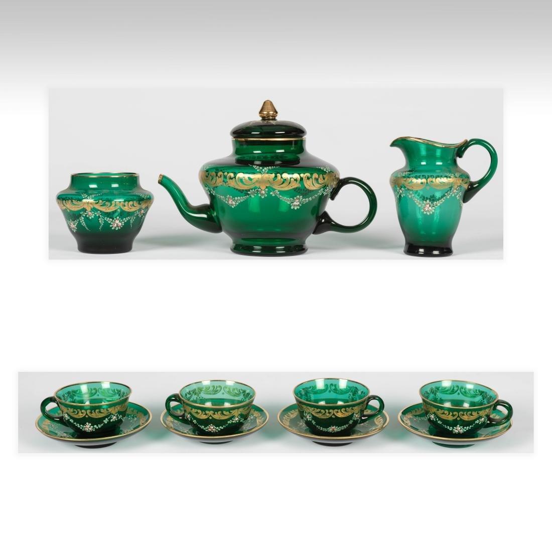 Enameled Glass Tea Set - 11 Piece