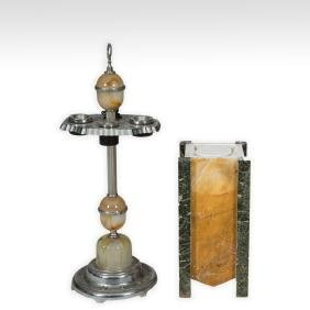 Art Deco Onyx Ash Stand and Marble Pedestal