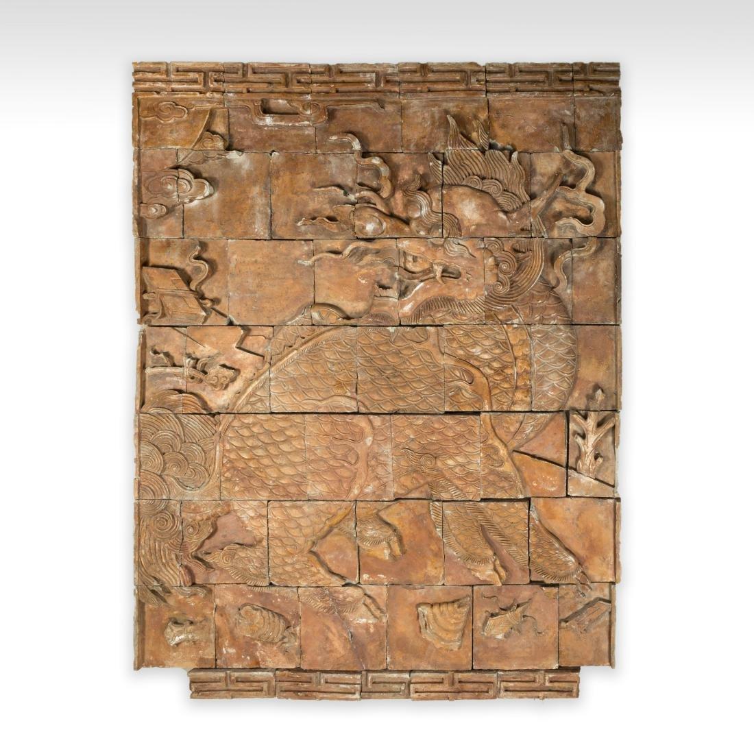 Large Oriental Terra Cotta Dragon Plaque