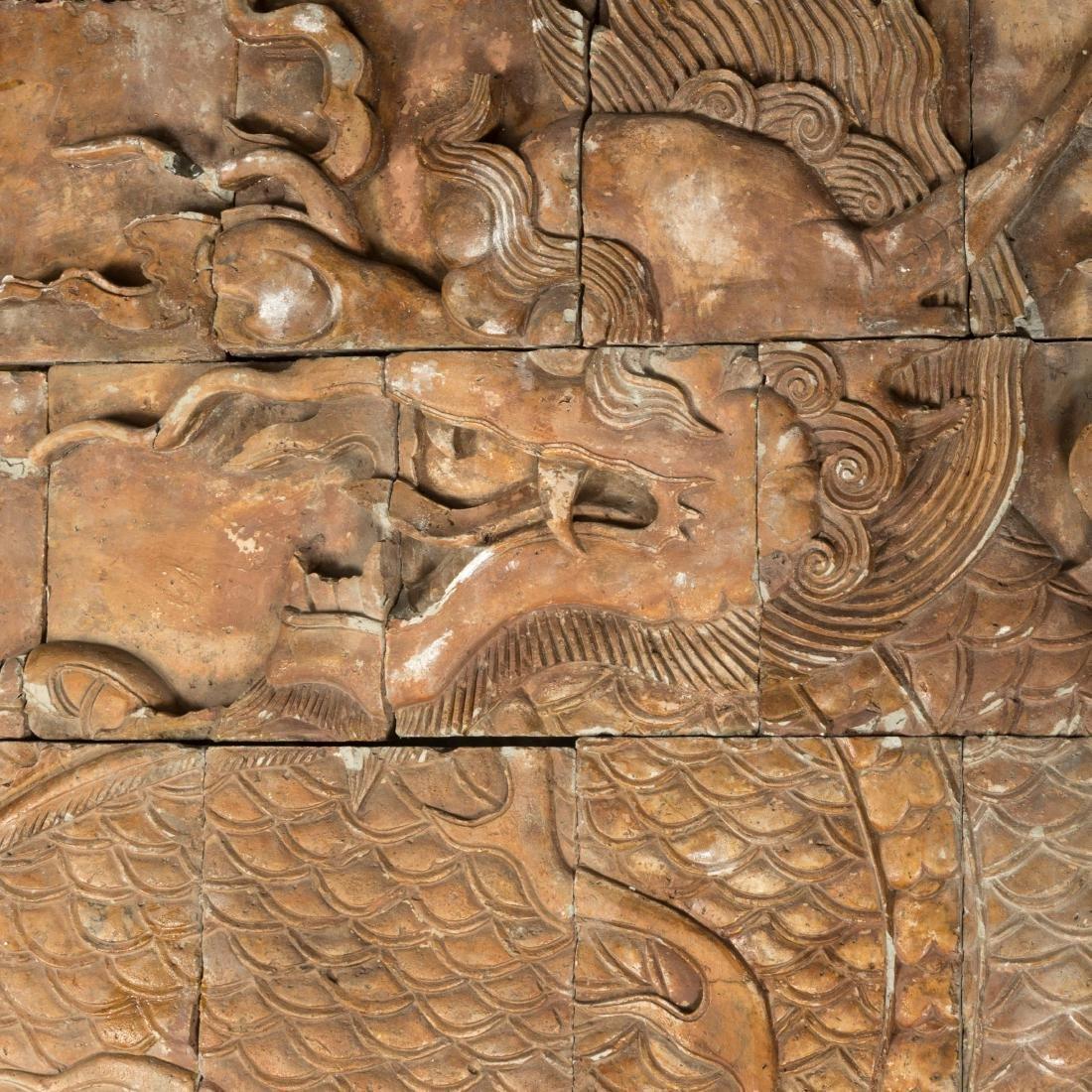 Large Oriental Terra Cotta Dragon Plaque - 2