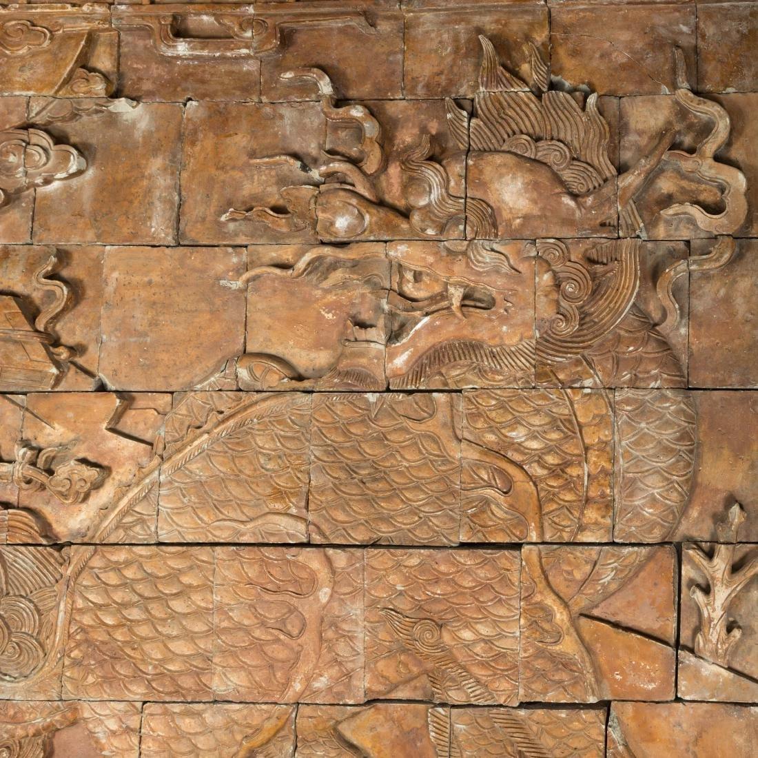 Large Oriental Terra Cotta Dragon Plaque - 3