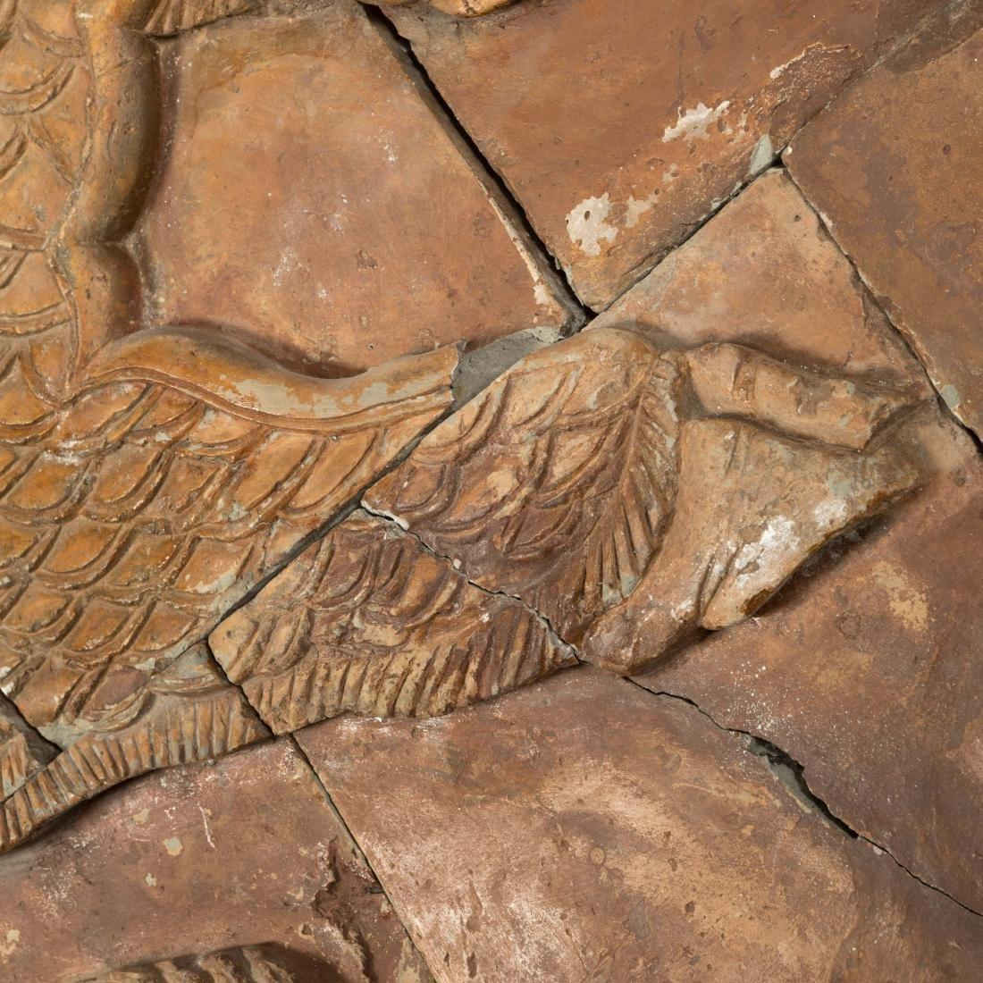 Large Oriental Terra Cotta Dragon Plaque - 5