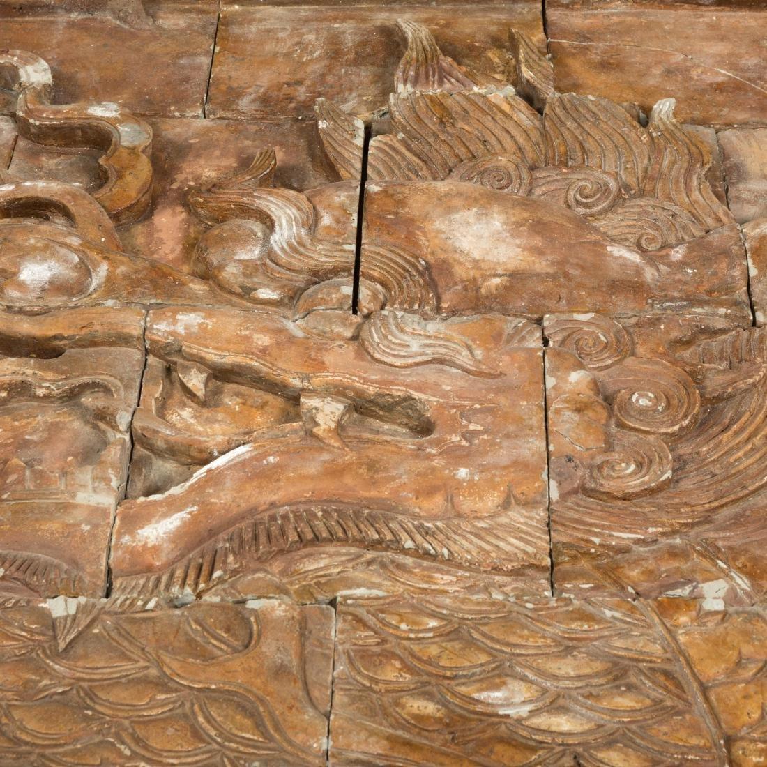 Large Oriental Terra Cotta Dragon Plaque - 6