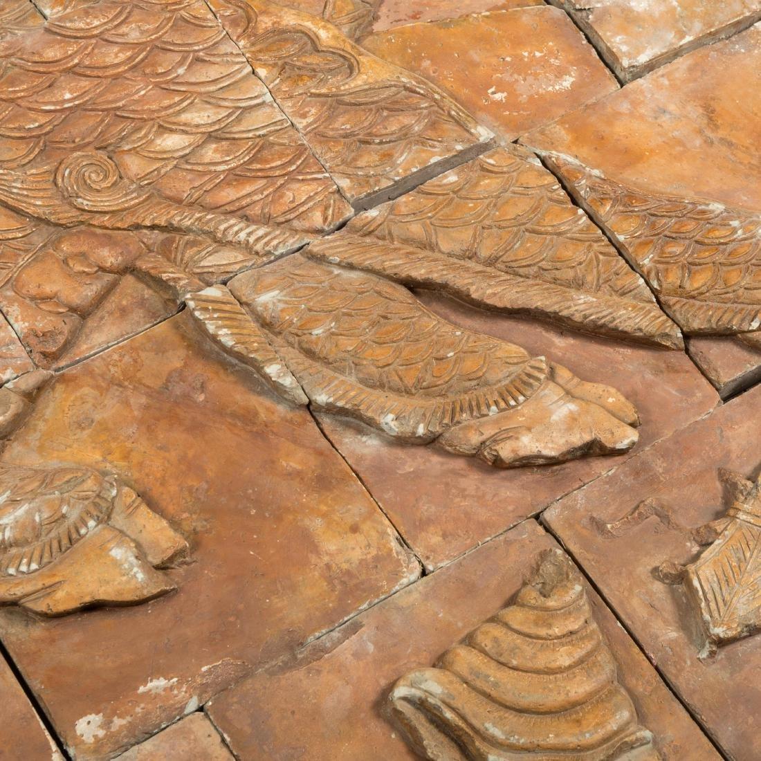 Large Oriental Terra Cotta Dragon Plaque - 7