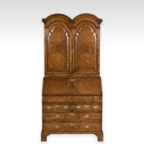 Antique English Burled Secretary Desk