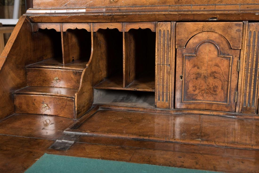 Antique English Burled Secretary Desk - 8