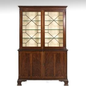 Two Part Georgian Step-Back Bookcase