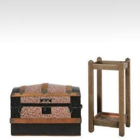 Umbrella Stand, Tilt Top Table and Dome Top Trunk