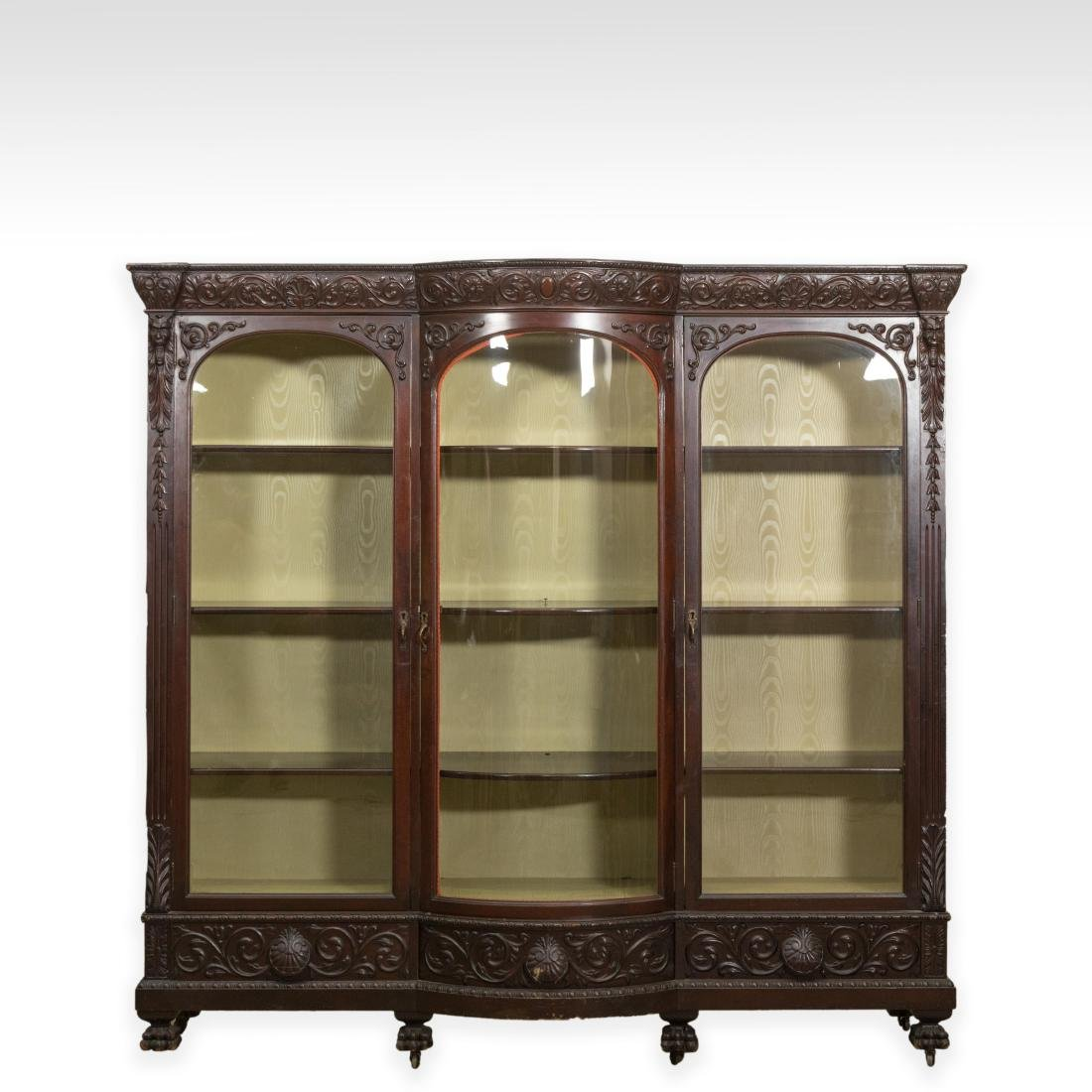 Three Section Carved Horner Bookcase