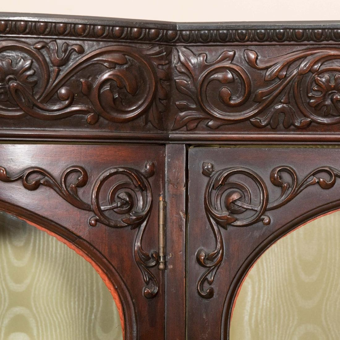 Three Section Carved Horner Bookcase - 5