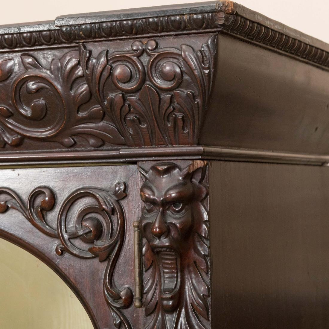 Three Section Carved Horner Bookcase - 6