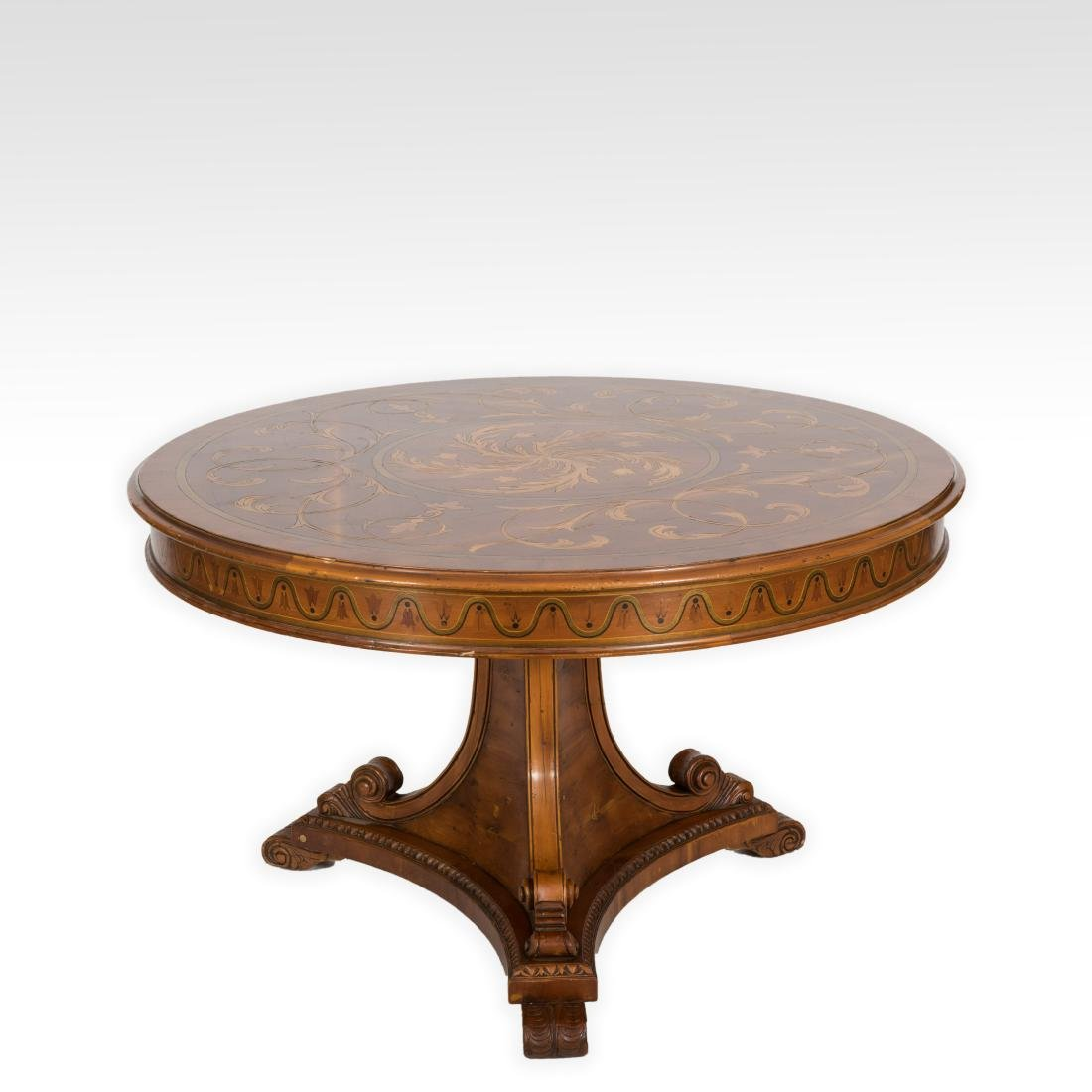 Inlaid Round Center Table - Signed