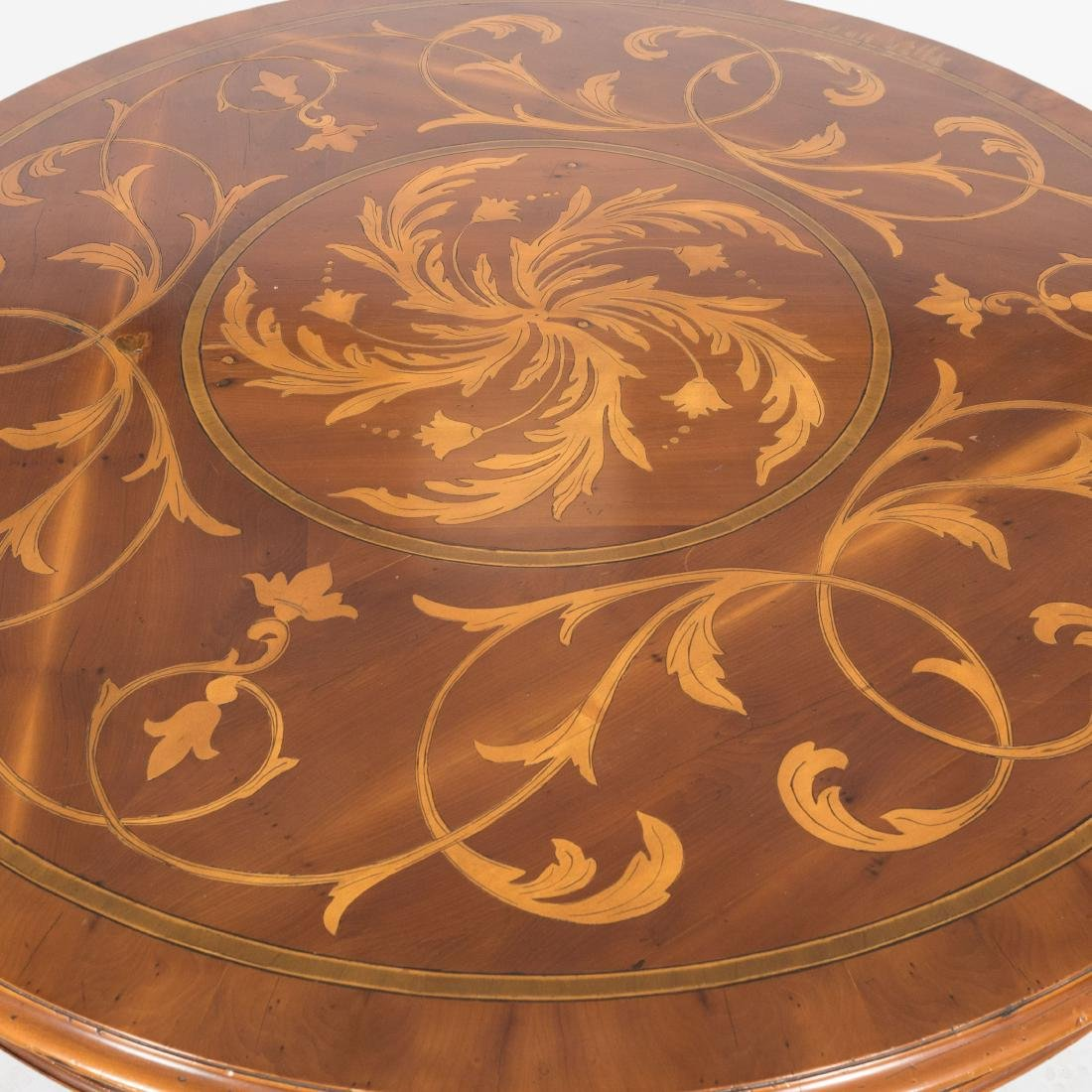 Inlaid Round Center Table - Signed - 3