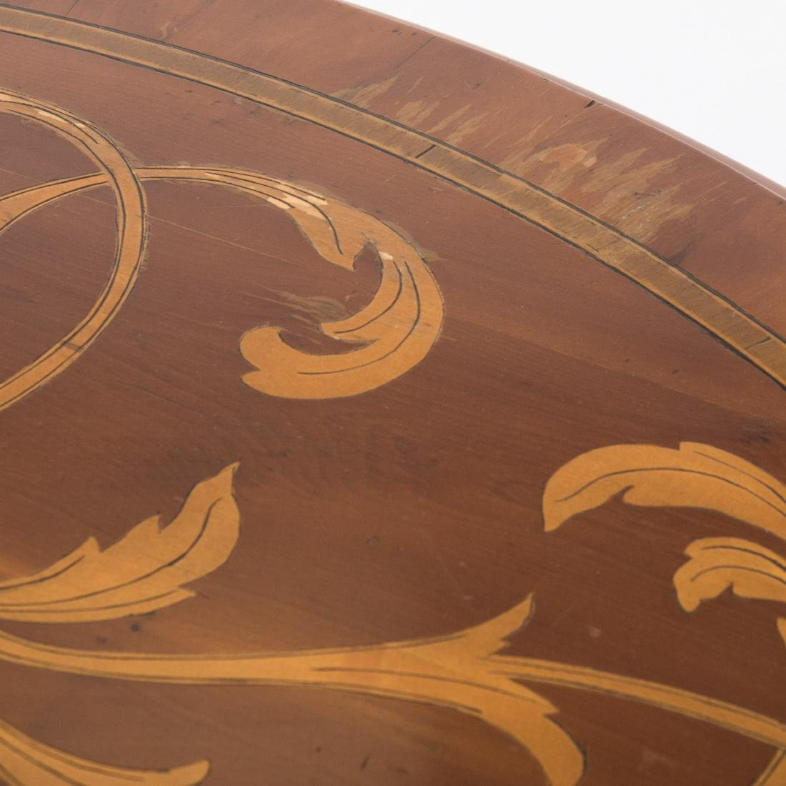 Inlaid Round Center Table - Signed - 4