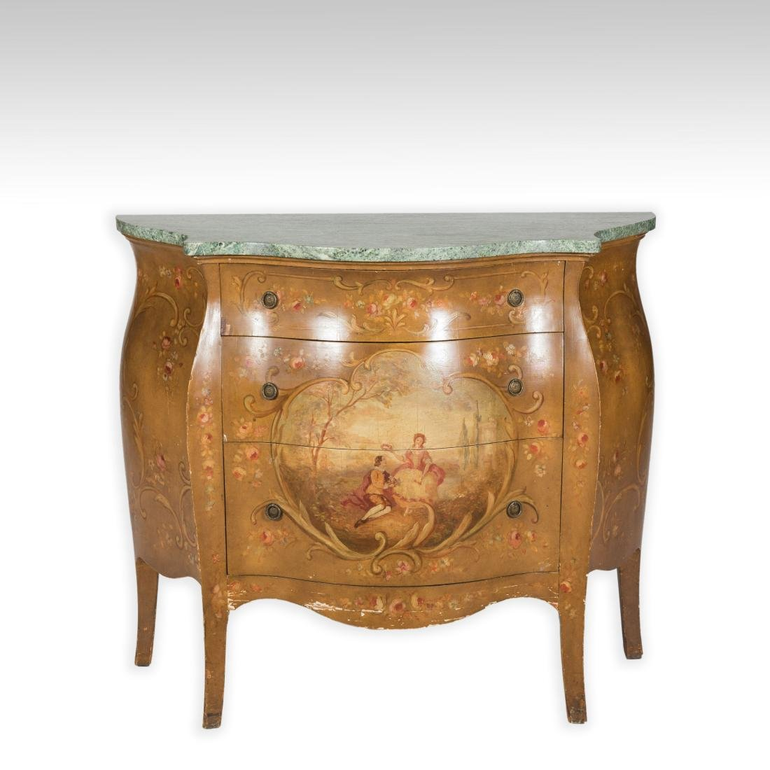 Painted Italian Marble Top Commode