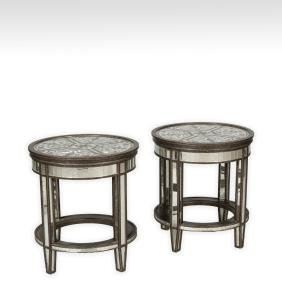 Pair Etched Glass Venetian Tables