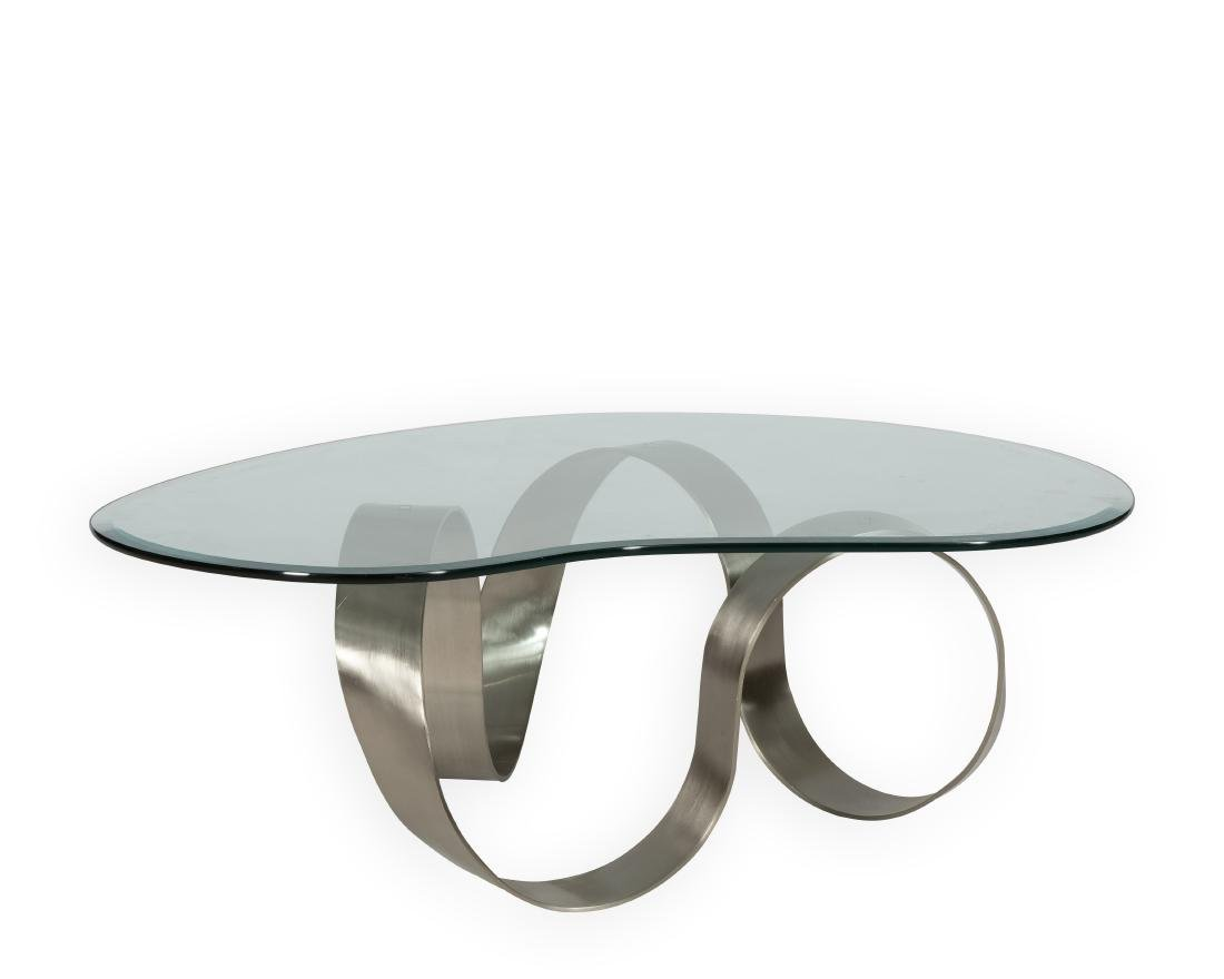 Infinity Brushed Steel Glass Coffee Table