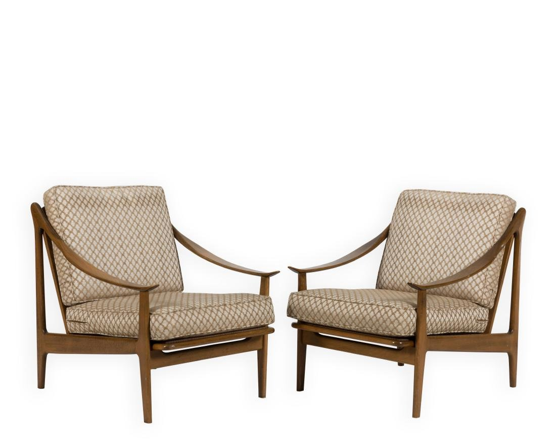 Pair Sculpted Arm Chairs